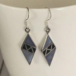 Jewelry - Sterling Silver Blue Dyed MOP Dangle Earrings